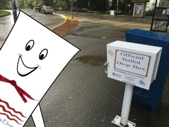 Billy takes a selfie with a drop box on the campus of Evergreen State University. Photo courtesy of Valerie Walston.
