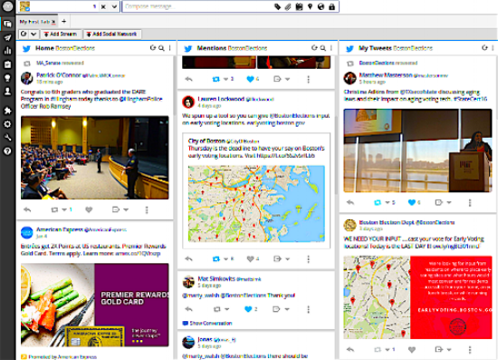 The Boston Election Department's Hootsuite dashboard displaying 3 Twitter streams