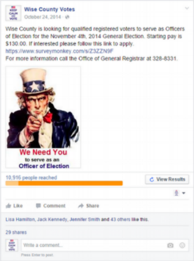 "Screenshot of Facebook ad recruiting poll workers using the iconic ""I want you"" Uncle Sam imagery"