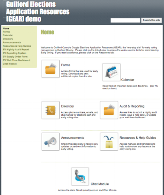 Screenshot of GEAR homepage menu showing several iconic menu items