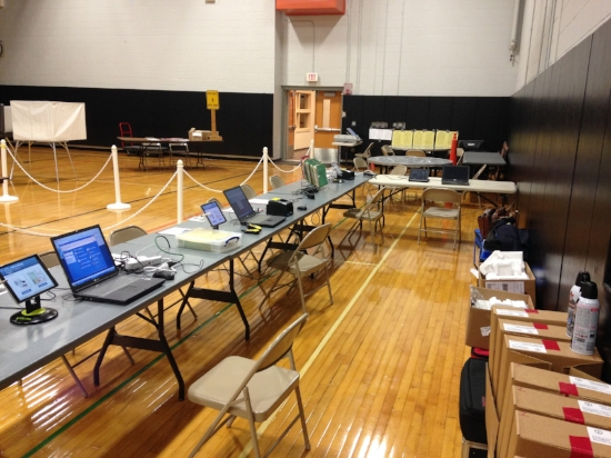 Easton's consolidated polling place at high school gymnasium. Photo courtesy of Jeremy Gillis.