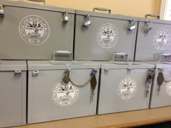 Provisional ballot boxes in Hardeman County. Photo courtesy of the Hardeman County Election Commission.