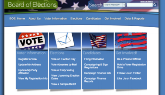 The Wake County Board of Elections homepage before the redesign