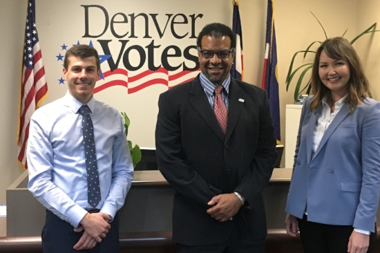 Communications Team members Joe Szuszwalak, Alton Dillard, and Amelia McClain. Photo courtesy of the Denver Elections Division.