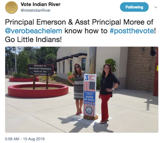 Tweet from the Indian River Supervisor of Elections shows off a bollard cover installed at a local elementary school