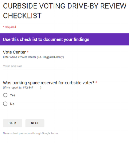 The app prompts users to report curbside voting problems