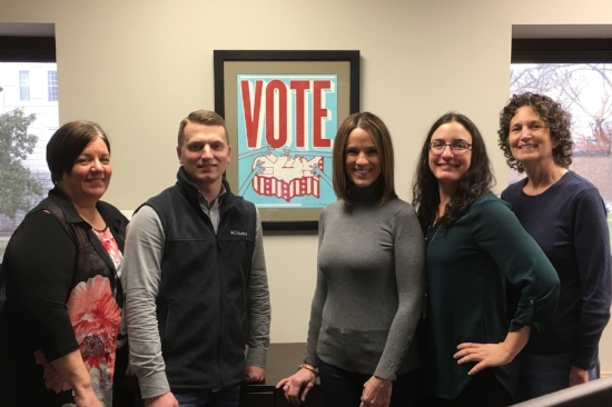 Cape Girardeau County's election team. L-R: Kathy Friedrich, Allen Seabaugh, Kara Clark Summers, Shu Siebert, and Sherri LoMedico. Photo courtesy of the Cape Girardeau County Clerk's office.