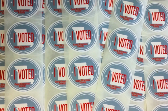The printed stickers. Photo courtesy of the Cape Girardeau County Clerk's office.