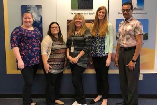Orange County's Election Department staff. L-R: Mary Hignight, Michelle Torres, Cindy Clark, Marissa Corrente, and Timothy Frazier. Photo courtesy of the Orange County Supervisor of Elections.