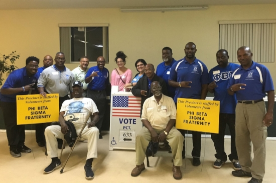 Phi Beta Sigma members at an adopted polling place. Photo courtesy of the Gamma Delta Sigma Chapter of Phi Beta Sigma Fraternity, Inc.