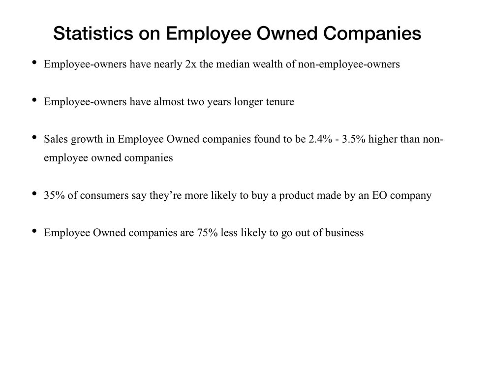 "Sources: Bullet 1 & 2 Findings from a 2017 study by the National Center for Employee Ownership (NCEO) based on data collected during the National Longitudinal Study. Data on ESOP plan values from NCEO analysis of Department of Labor 5500 data Bullet 3from Joseph Blasi, Douglas Kruse, and Dan Weltmann(2013), ""Firm Survival and Performance in Privately-Held ESOP Companies,"" Bullet 4 from original work by Certified EO available  here . Bullet 5 from FidanKurtulusand Douglas Kruse (2017), How Did Employee Ownership Firms Weather the Last Two Recessions?"