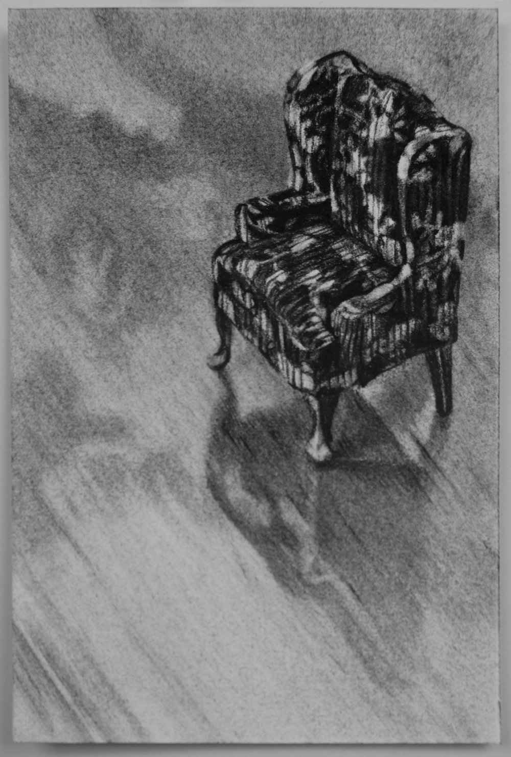 "parlor chair, charcoal on paper, 4"" x 6"""