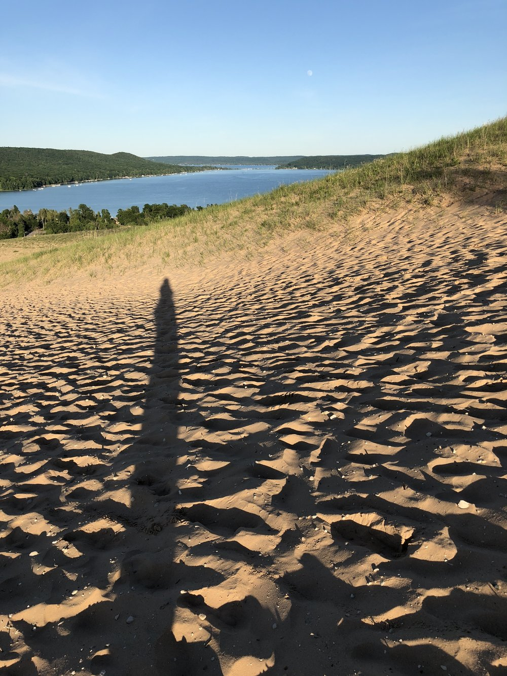 Our first Michigan night was topped with a hike up one of Sleeping Bear Dunes for long shadows and this beautiful view of Glen Lake.