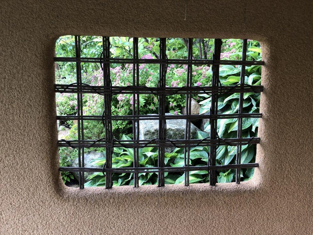 Through the Tea House window!