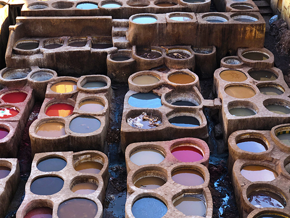 Textural patterns show up everywhere - here at the famous leather dying vats in Fez.
