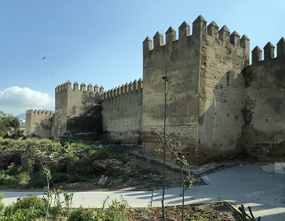 Exterior adobe fortress walls surrounding the Medina in Fez.