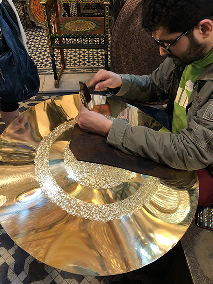Brass pattern hammering at its finest! It can take months or years of craftsmanship to complete a tray this size!