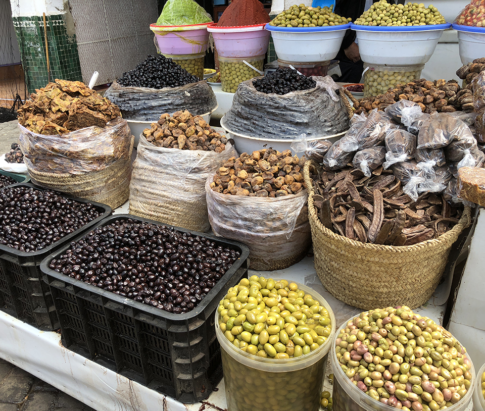 Hard to resist all of the tasty olives, dried fruits and other goodies offered in the marketplaces throughout Morocco.