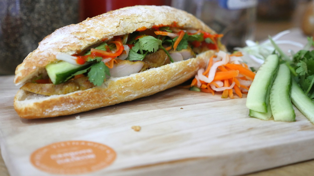 Lemongrass Chicken Banh Mi with our house Sriracha sauce