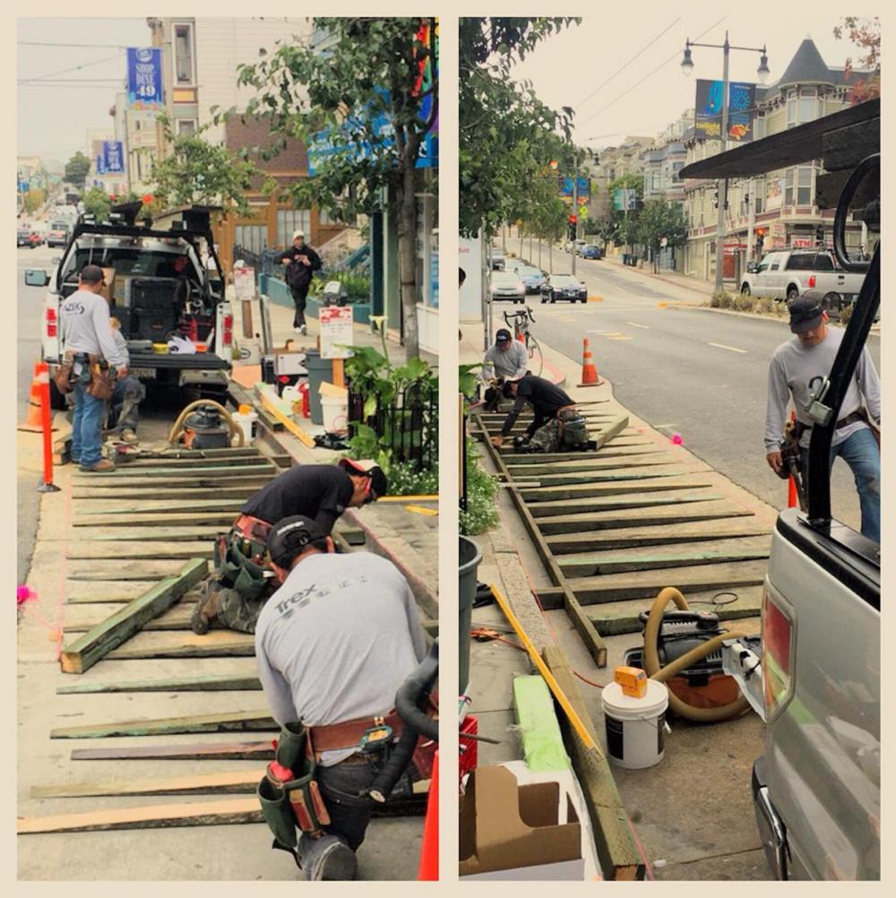 Parklet construction