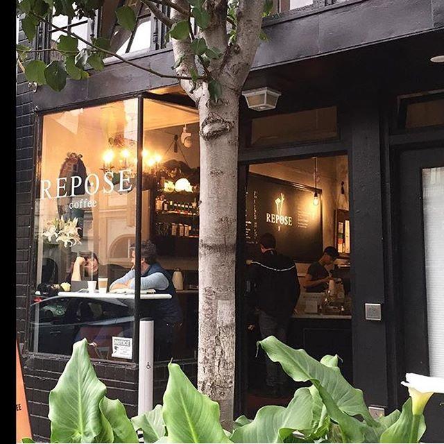 Repose from @seeconrun. Love the lighting. #coffee #coffee #parkletvibes #repose #reposecoffee #lovemycity #lowerhaight #sanfrancisco