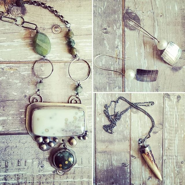 Off to new homes today! 😍  #decadence2dotcom #decadence2 #oceanjasper #oceanjasperjewelry #sterlingsilver #necklace #madeincanada #deerantler #deerantlernecklace #antlerjewelry #pearlearrings #sold #riojeweler #silver #jewelry #jewelryporn #rusticjewelry #forged