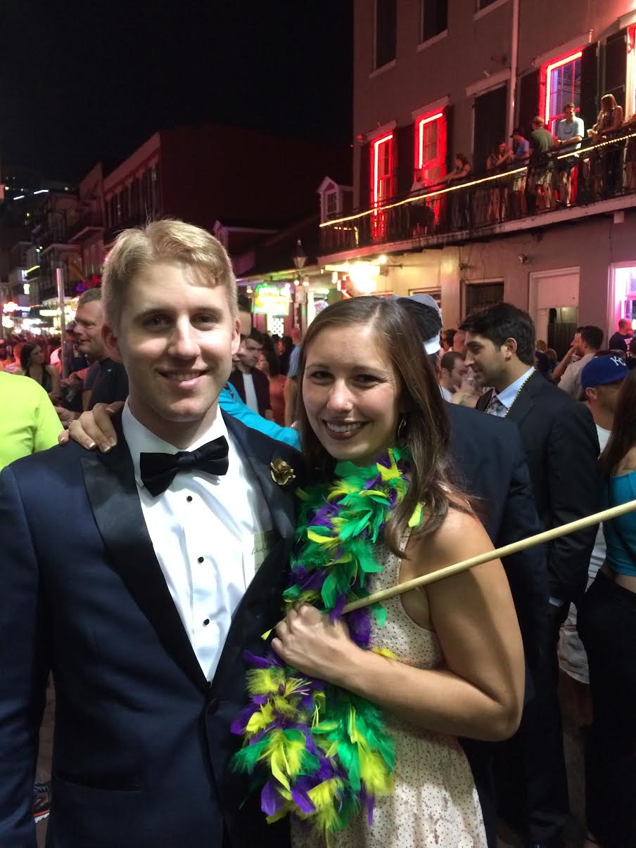 During the Second Line parade through the French Quarter