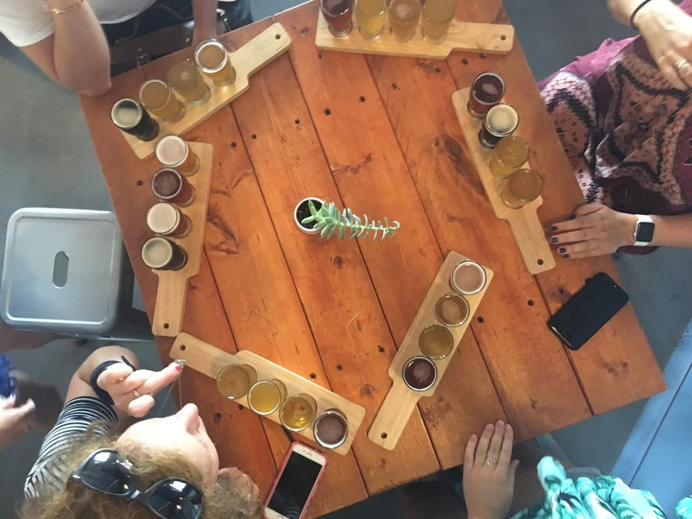 Beer flights at Independence Brewing