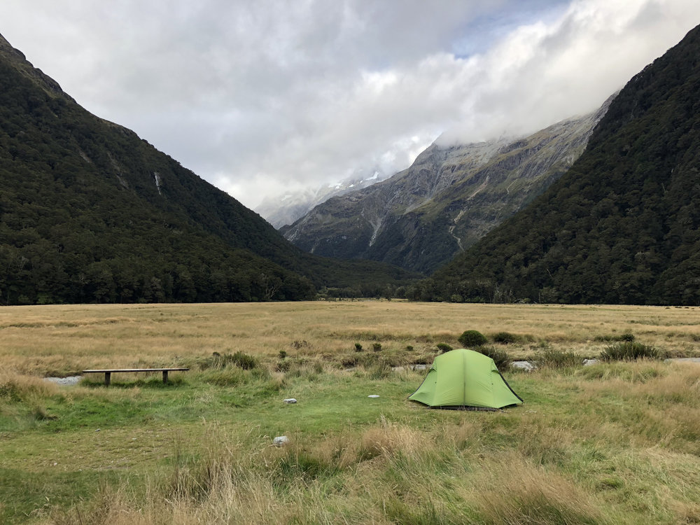 Day 2 campsite at Routeburn Flats