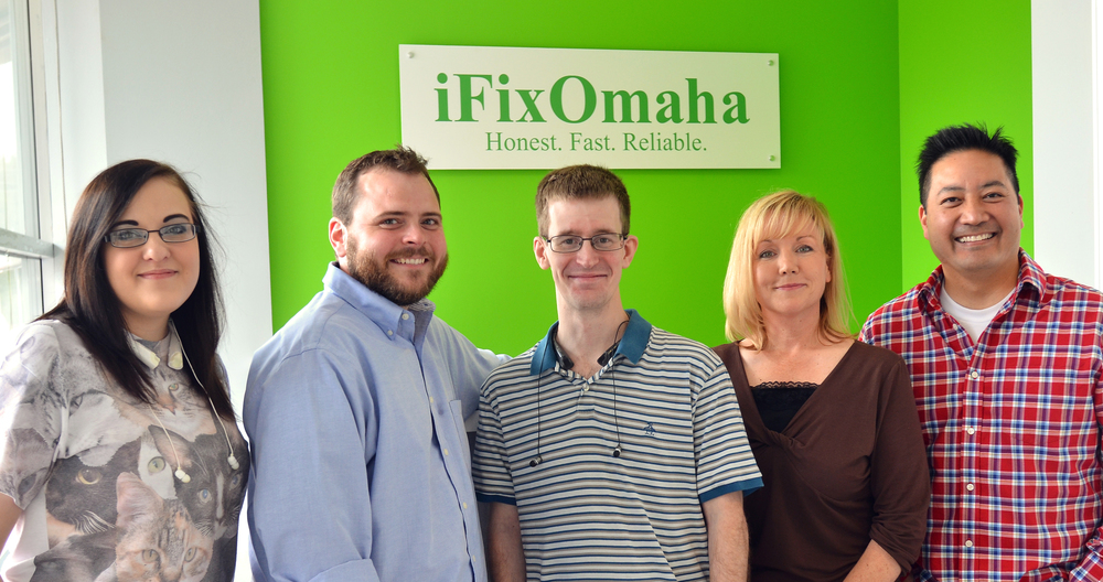Our wonderful team at the original iFixOmaha Midtown Omaha location!
