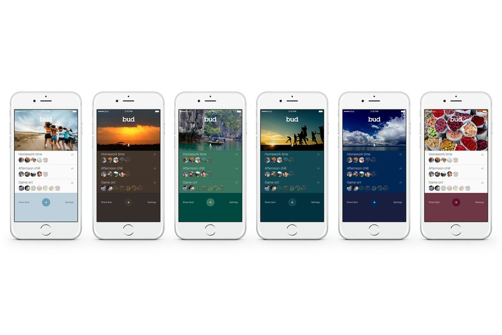 Bud Mobile   Skin variants for a real-time group communication app.