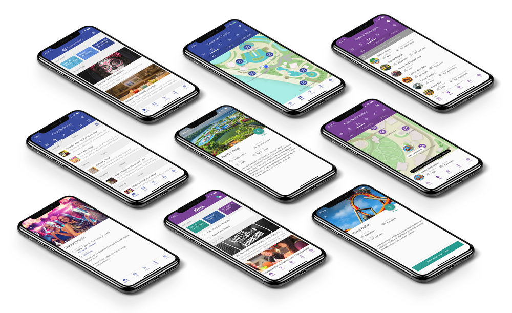 The Experience Engine   Complete UX (IA, UI, design) for a location-based resort and theme park app. With a focus on guest needs as well as structure considerations for providers, this app is now deployed at parks and resorts across North America.