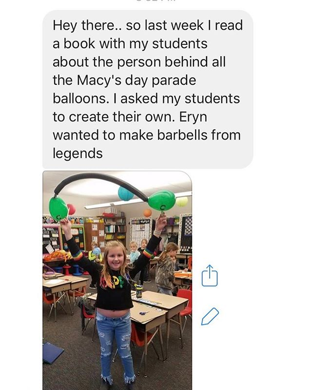 Received this message today from a teacher friend. Kids are always watching us. Influence them in positive ways! 🌟 Go Eryn! 🤗 #littleeyesarewatching #positiveinfluence #crossfitkids