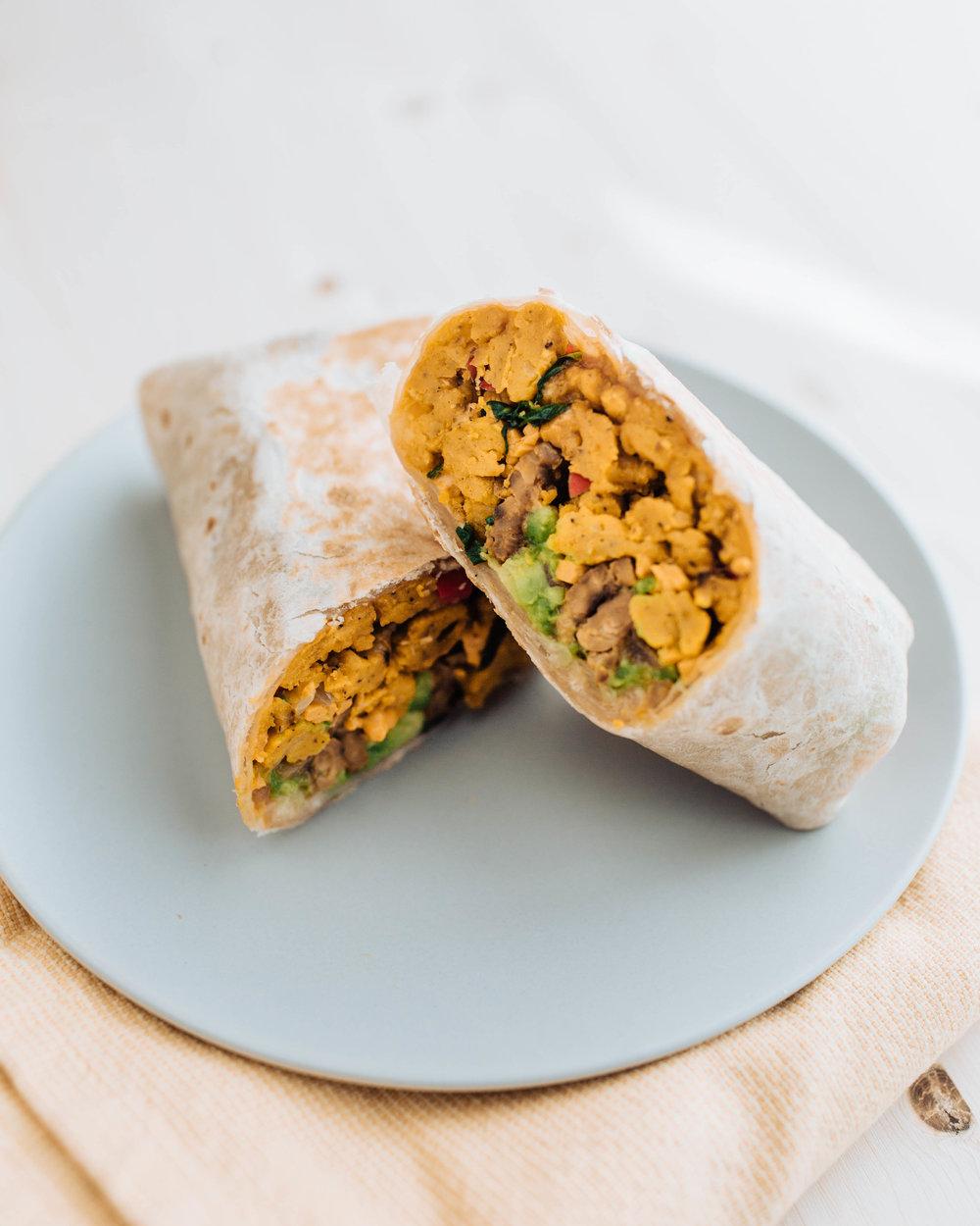 Vegan Chickpea Scramble Breakfast Burrito