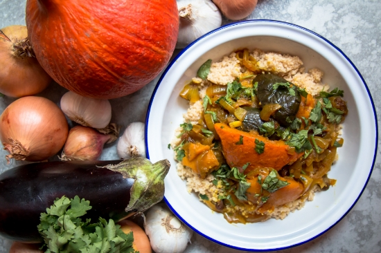 Aubergine and pumpkin tagine with caramelised onions (Vegan)