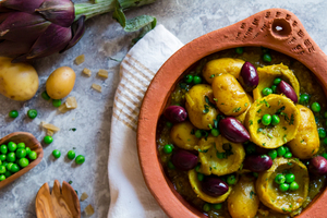 Vegetarian dishes and grains my moroccan food artichoke tagine with peas baby potatoes and preserved lemon vegan forumfinder Gallery