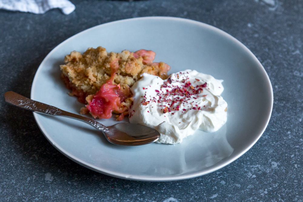 Rhubarb ginger and rose crumble -8.jpg