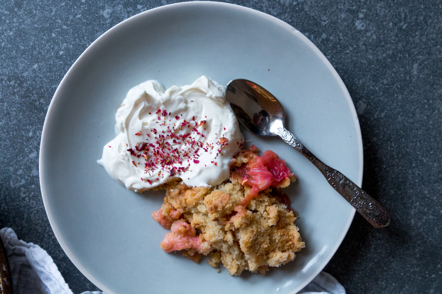 Rhubarb, ginger and rose crumble