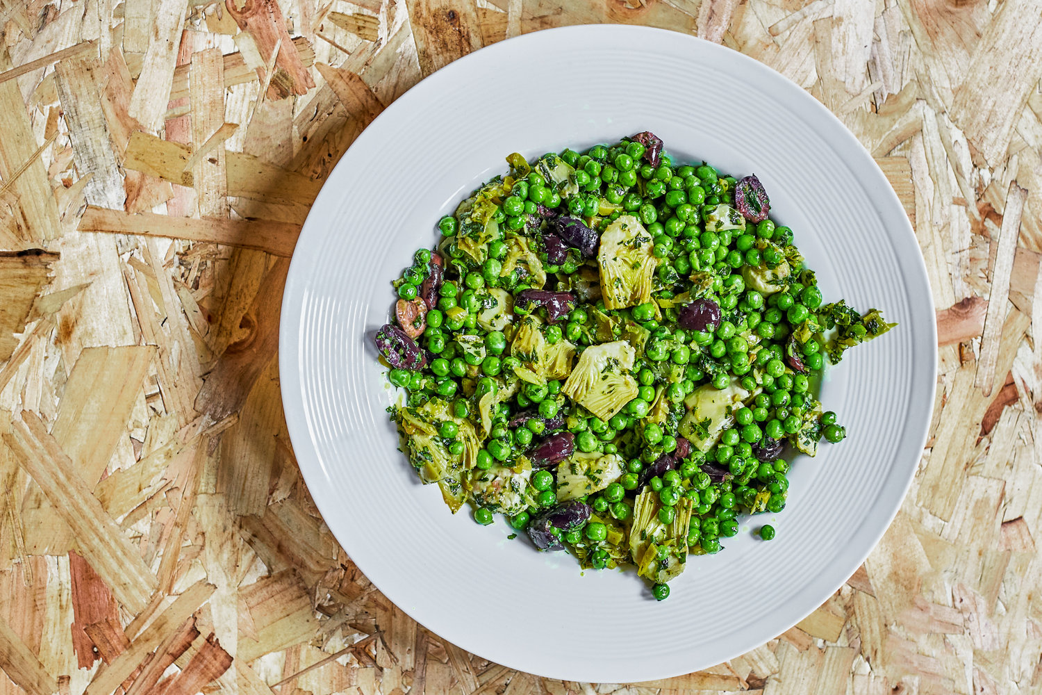 Artichoke, green peas and preserved lemon salad