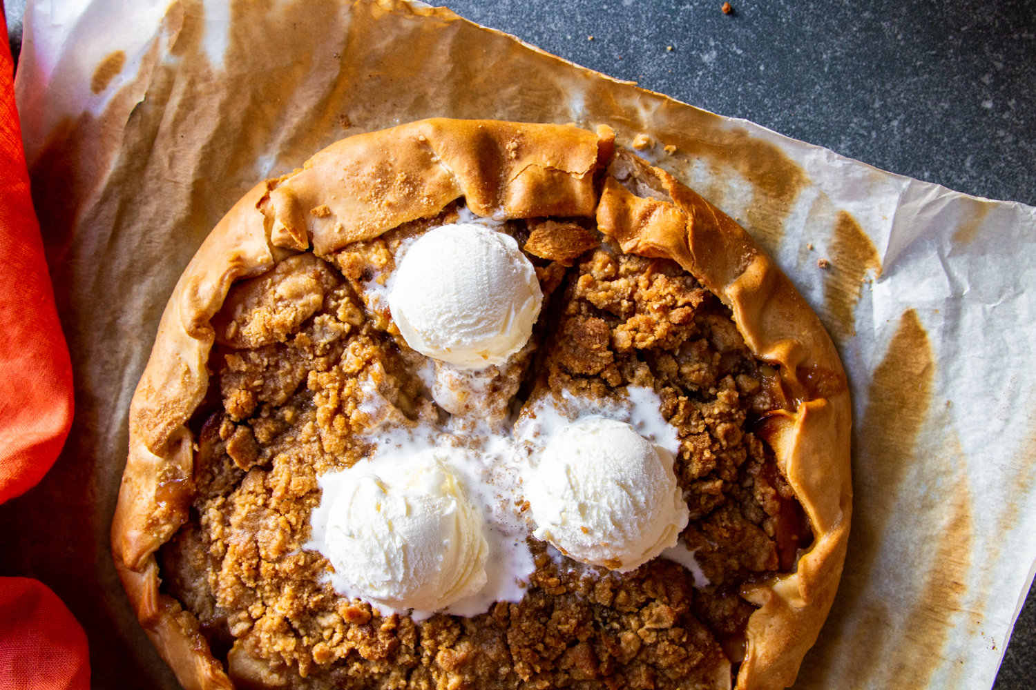 Brown butter and orange blossom apple galette with crumble top