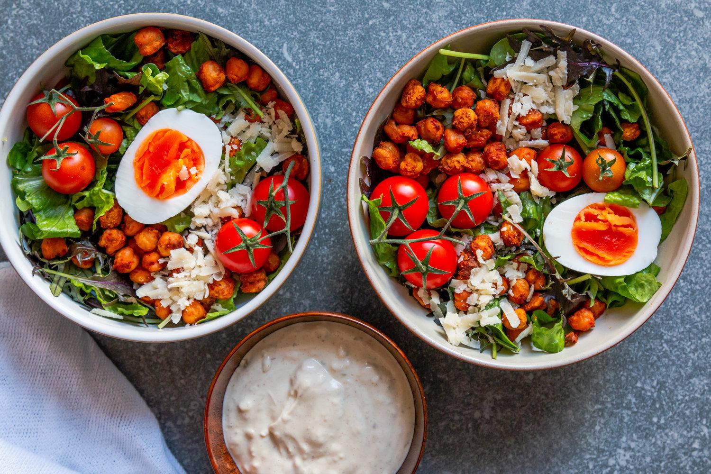 Crispy Harissa Chickpea Caesar Salad