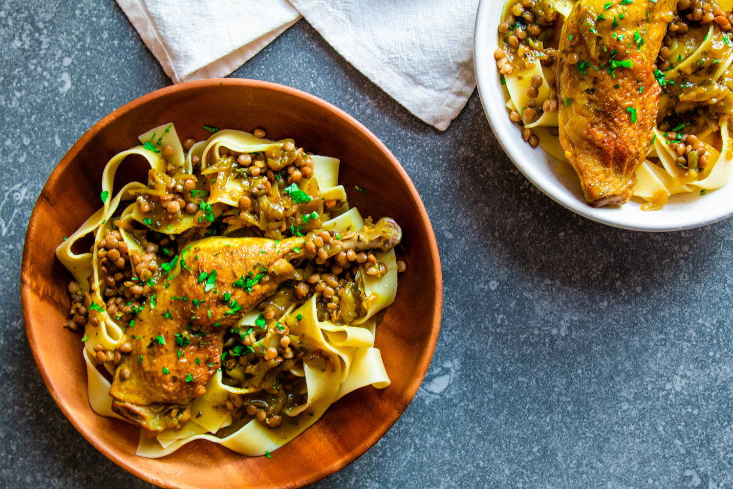 Rfissa Express – Fragrant chicken and lentils with papardelle