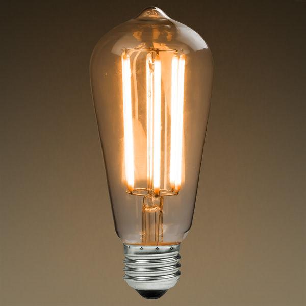 led antique filament bulb edison style st58 6 watt 60w equivalent 2200k warm white e26 base dimmable amber glass finish u2014 modvera lighting - Vintage Light Bulbs