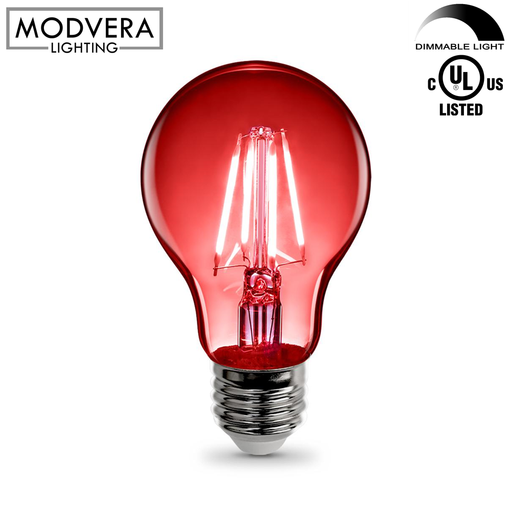 Red LED Light Bulb A19 3 Watt E26 Base Clear Glass Lights Up Red  sc 1 st  Modvera Lighting & Red LED Light Bulb A19 3 Watt E26 Base Clear Glass Lights Up Red ...