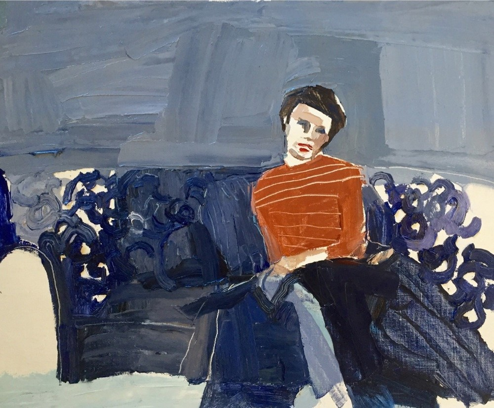 Clara Adolphs , Blue Lounge 52 x 64 cm, oil on linen