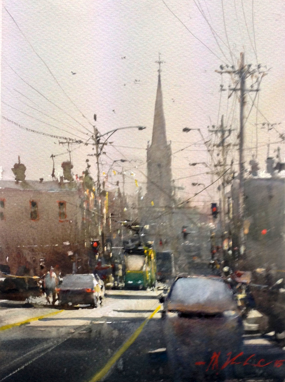 Joseph Zbukvic, Brunswick Street 1 Watercolour, framed, available