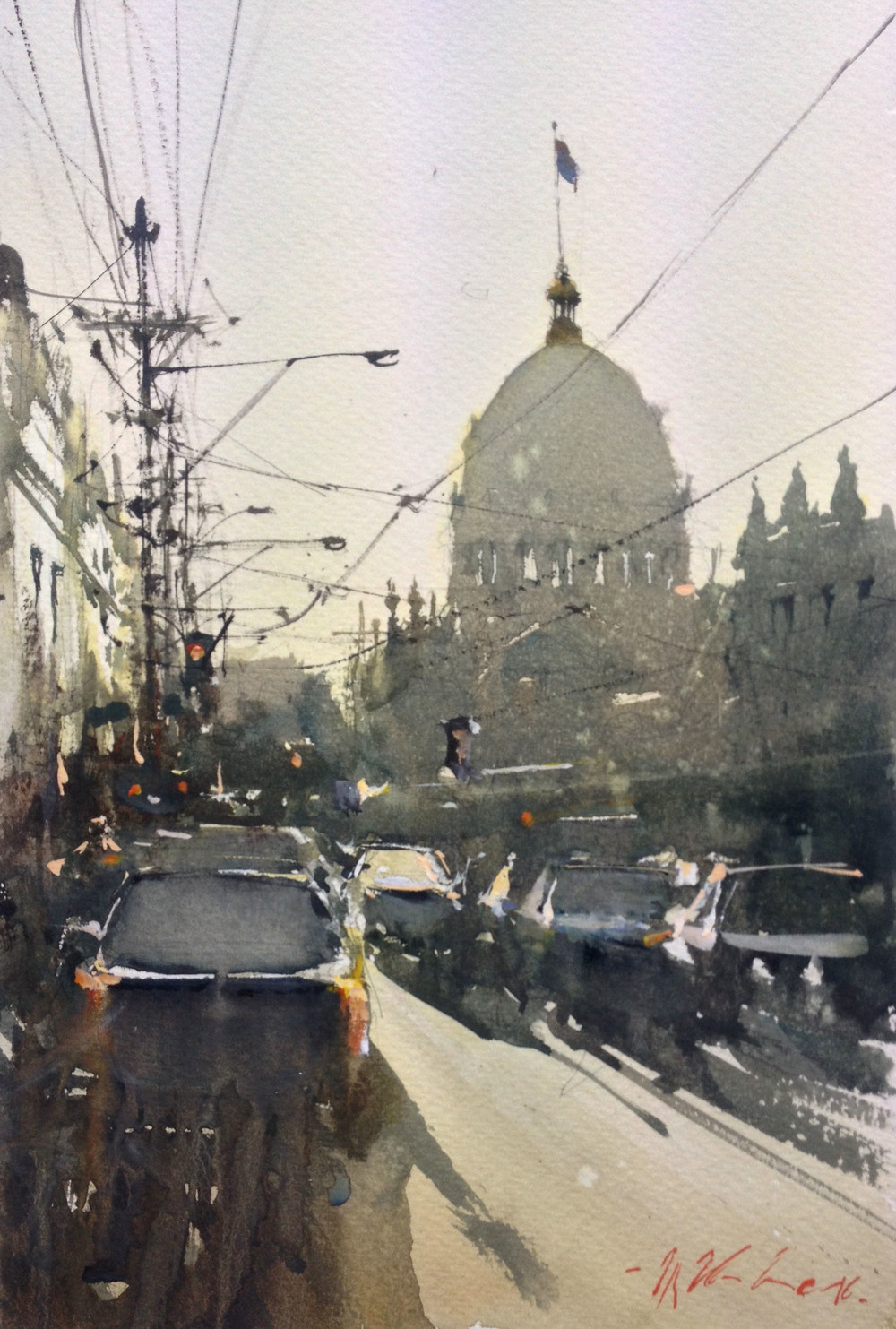 Joseph Zbukvic, Gertrude Street 1 Watercolour, framed, available