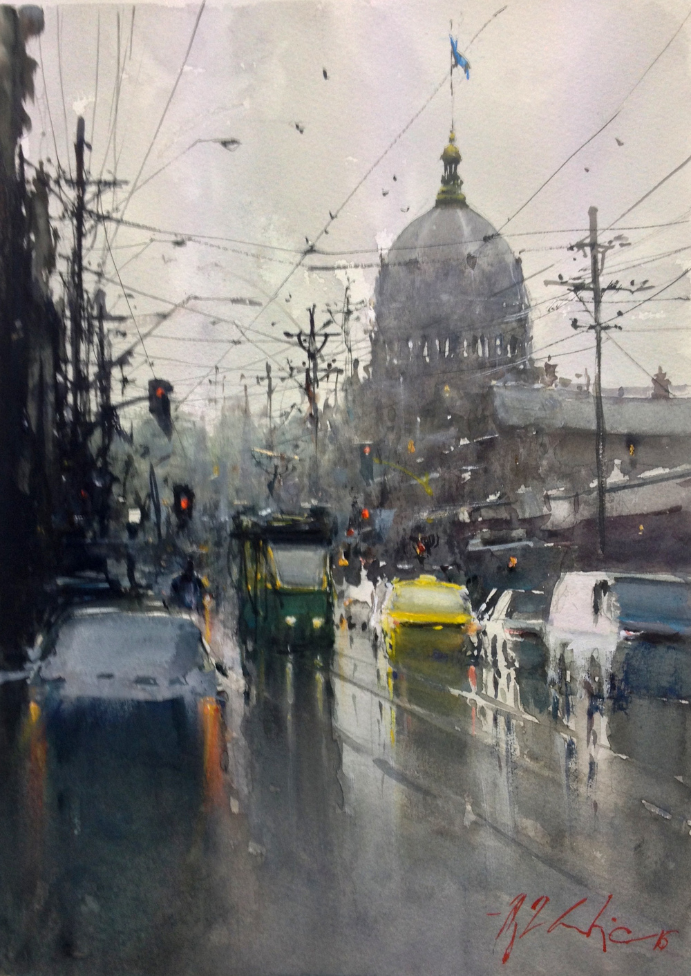 Joseph Zbukvic, Gertrude Street 2   Watercolour, framed, available