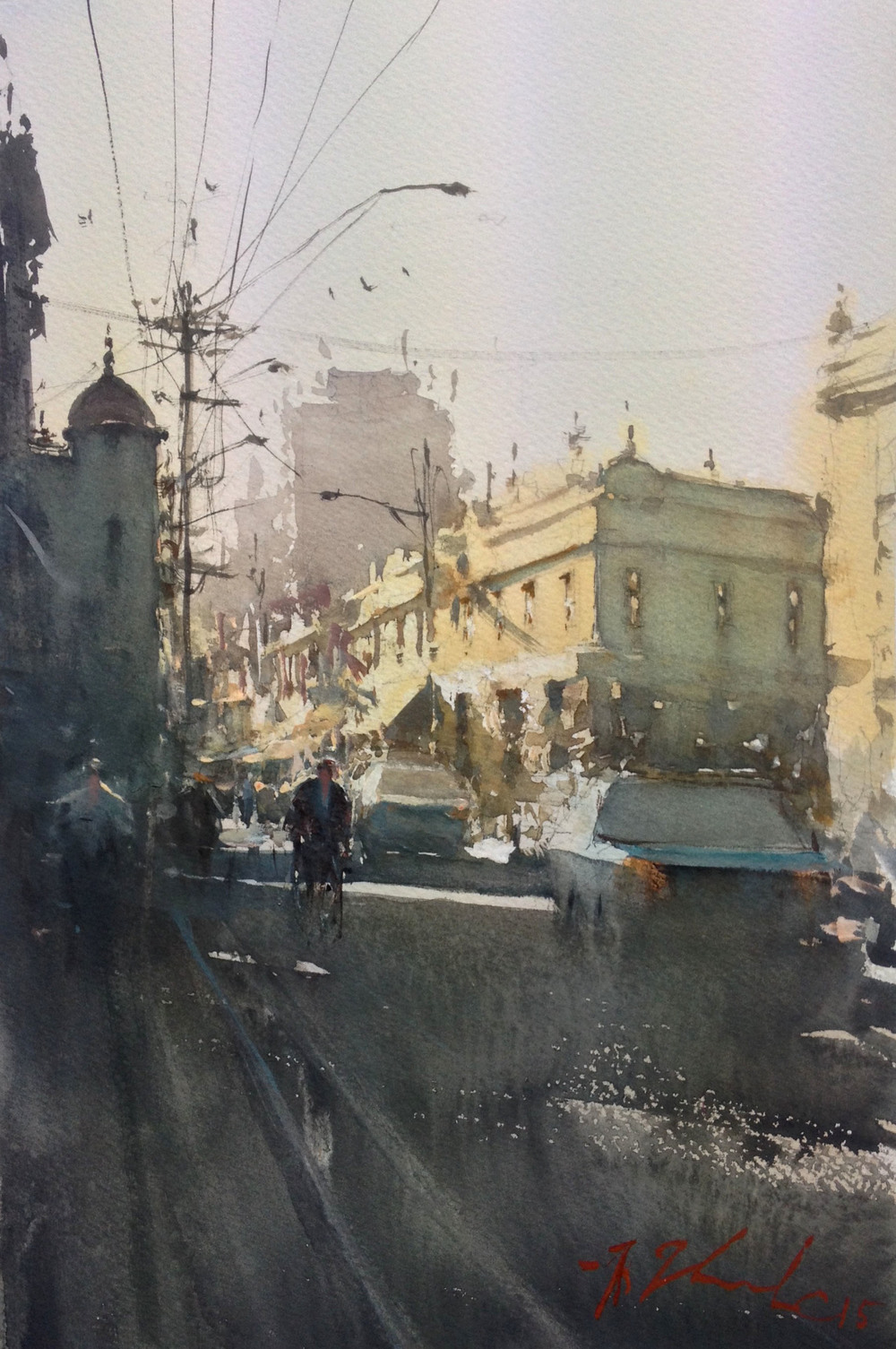 Joseph Zbukvic, Cnr Johnstone and Brunswick   Watercolour, framed, available