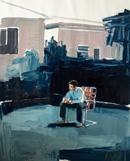 Clara Adolphs, Backyard Scene 84 x 106 cm, oil on linen